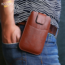 KISSCASE Universal Belt Clip Leather Phone Bag Case For iPhone 6 7 5 Case For Samsung Galaxy S8 Hang Waist Bag For Huawei Xiaomi