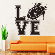 New design home decoration vinyl Love Rugby sports Wall Sticker colorful Cheap American football decals for house decor in rooms