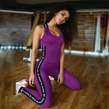 Women Bandage Jumpsuit Jogger Elastic Combinaison Femme Overalls Outfits Fitness Letter Jumpsuit Romper Bust Pad Skinny Bodysuit(China)