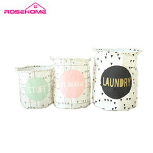 ROSEHOME Vogue Linen Cotton Canvas Toy Storage Basket Home Decor Waterproof Fold Laundry Basket Drawstring Box Holder S/M/L(China)