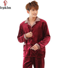 Autumn and Winter Men Pyjamas Sets Thick Warm Coral Flannel Man's Sleepwear Male Solid Sleepwear Home Clothing L-XXXL SY776(China)