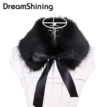 DreamShining Hot Selling Faux Fur Scarf Women New Autumn Winter Warm Scarves Ladies 55cm Faux Fox Fur Collar Wrap Scarves(China)