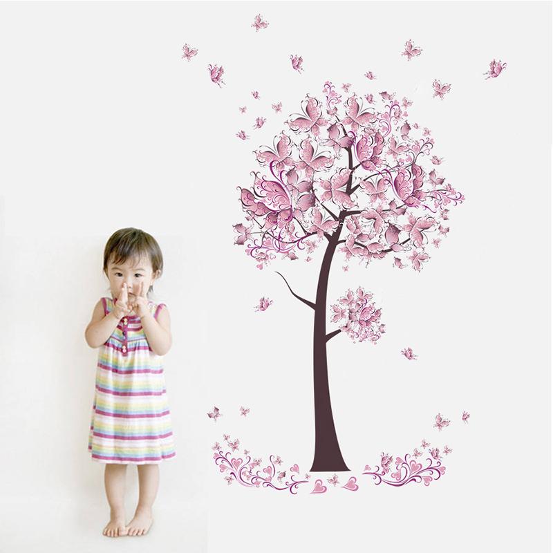 HTB1Z1yjxv9TBuNjy1zbq6xpepXac - Pink butterfly flower Tree Wall Stickers