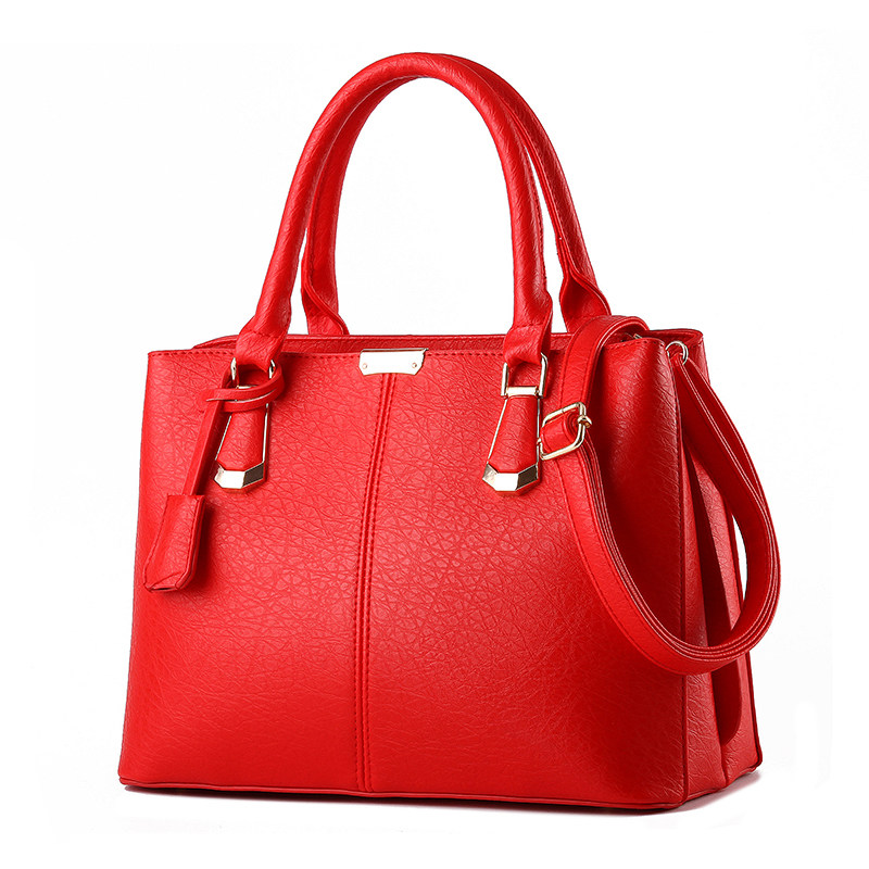 Elegant Simple Women Handbag Fashion Plain Shoulder Bag Stylish Embossing PU Leather Large Hand Bag Ladies Red Black Party Bag<br>