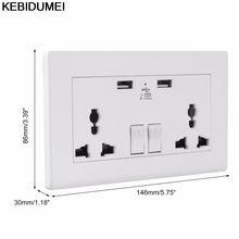 Kebidumei Wall Socket 110v 2 Gang 1000mA Dual USB Charging AC Charger Adapter Dual USB Port Outlets Plate Panel Universal Plug(China)