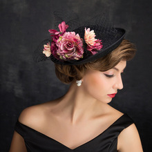 Lady Formal Occasion Hairbands Sexy Dress Hair Accessories Flower Black Sinamay Fascinator Hat for Party Cocktail Race Derby(China)