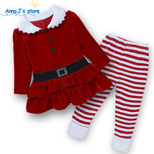 2017 Spring Autumn baby girls christmas outfits Sport suit clothing set Father Christmas tripe pants kids clothes sets TZ511(China)