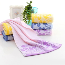Super Absorbent  and quick dry Cut Pile Cotton Rose Flower Face Towel Beach Bath Absorbent Drying Cloth For Travel