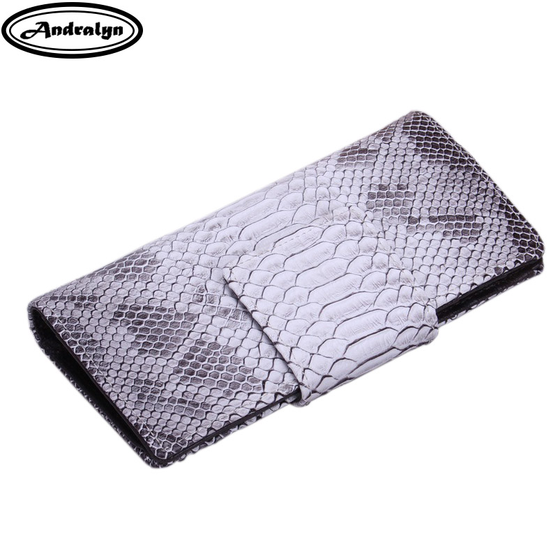 Andralyn Ladies Wallets Crocodile &amp; Snake Long Cowhide Female Clutch Wallet Genuine Leather Card ID Holders Purses for Women<br>