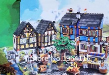 New 16011 castle Series the Medieval Market Village Model Building Brick Compatible 10193 classic Architecture Toys for children(China)