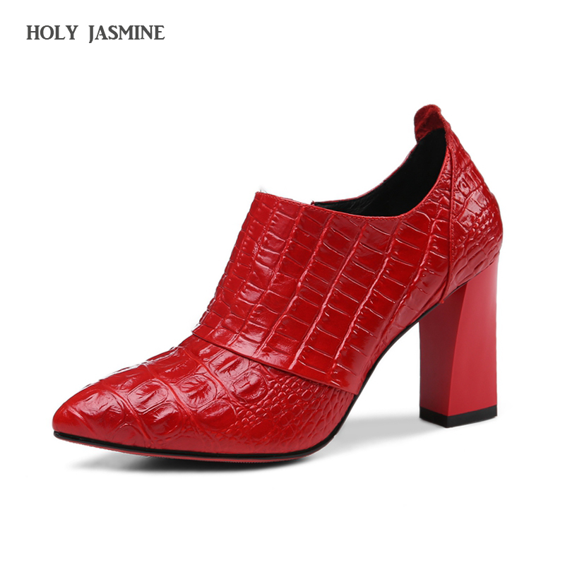 Womens Shoes Embossed Cow Leather Zipper Pumps Womens High Heel Shoes 2018 New Arrival Side Zip Female Footwear Ladies Pumps<br>