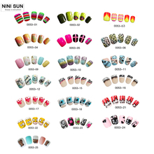 25 Designs High Quality Fake Nails Artificial 24pcs Kids Finger Nail Short False Nails With Glue Cute Designs for DIY Nail(China)