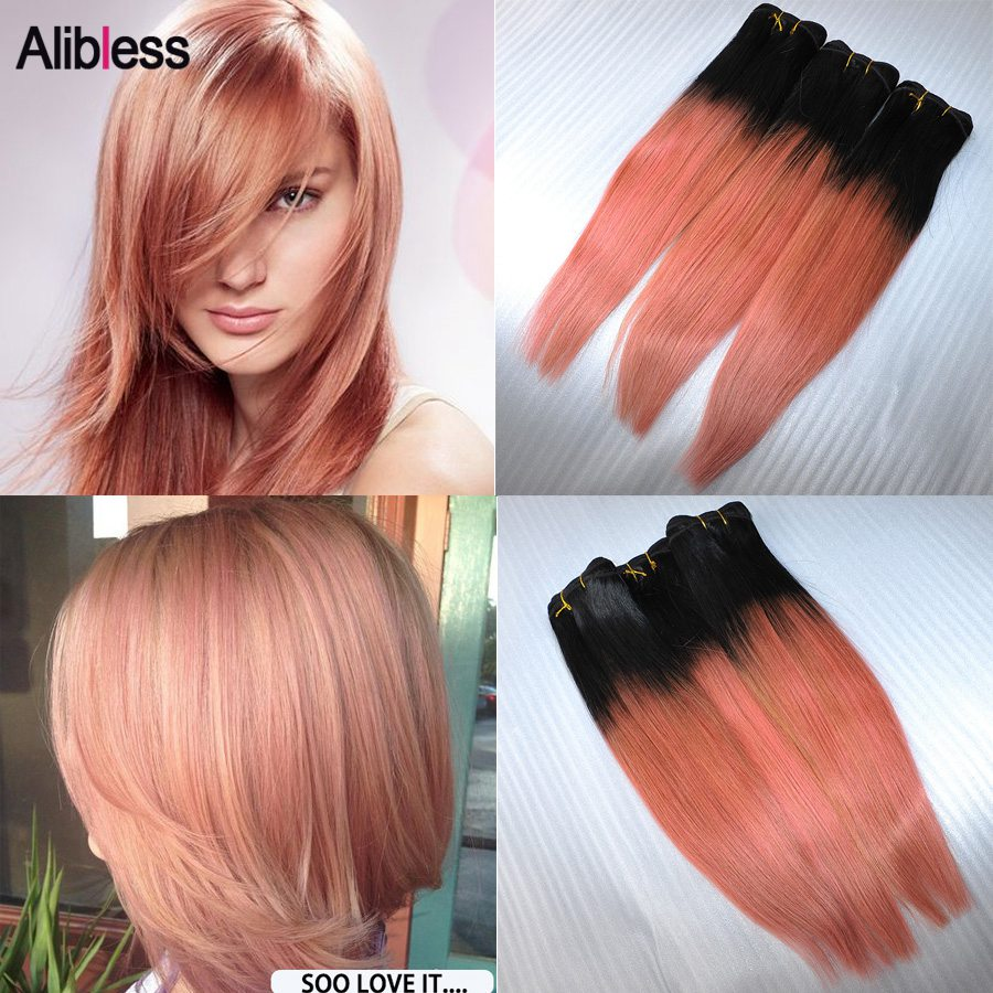 1B Rose-Gold 7A Peruvian Ombre straight hair weave 3Pcs Lot,10-20 Beauty Rose Gold Virgin ombre human hair 100g bundle Free DHL<br><br>Aliexpress