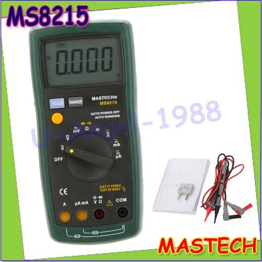1pcs MASTECH MS8215 Auto Range Digital Multimeter DMM AC/DC Voltmeter Ammeter Multitester Ohmmeter Capacitor Tester Megohmmeter<br><br>Aliexpress