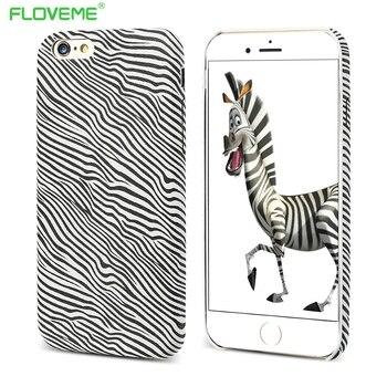 Floveme serpiente caballo imprimir pu de cuero de lujo del cocodrilo case para iphone 6 6 s Plus Contraportada Accesorios Con Logo Agujero Delgado Shell