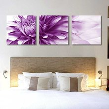 Spirit Up Art HD Giclee Art Print on Canvas Purple Bursting Chrysanthemum Buds set of 3 Modern Home Wall Painting Decor Art