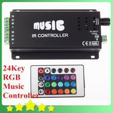 10A 12V 10A Music Sound IR Controller For RGB LED Strip Light + 24 Key Remote for 3528/5050 SMD LED Strip Light Free Shipping