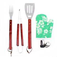 7PCS Stainless Steel BBQ Grill Tools Set Barbecue Accessories with Aprons Hard Wood Handles