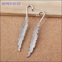 High Quality 20 Pieces/Lot 14mm*85mm Antique Silver Plated Feather Bookmark Charms