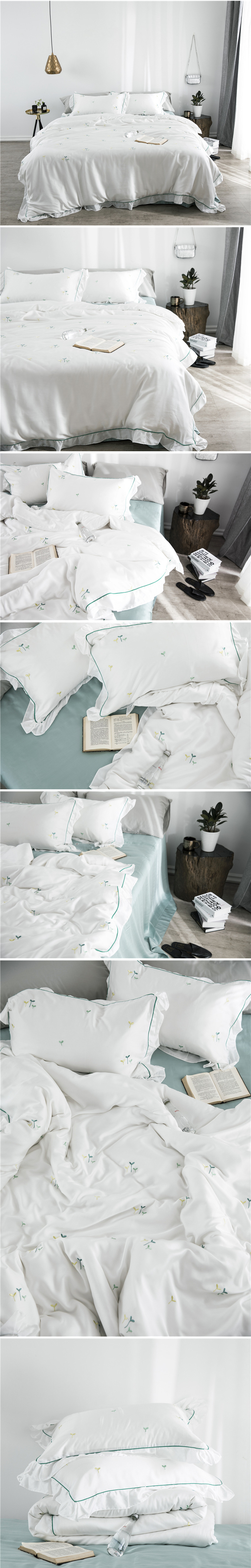 2018 comforter bedding sets 60s tencel coon coon bed sheets small fresh embroidery wedding bed cover housse de couee 2