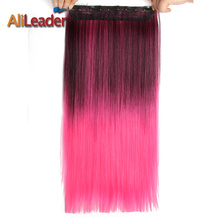 Alileader 5 Clip In Hair Extension Ombre Purple Red Color 22 Inch 56Cm Long Straight Fake Synthetic Hairpiece Natural Full Head(China)
