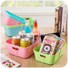 Free Shipping Colorful Thickened Plastic Storage Basket Desktop Storage Basket Kitchen Bathroom Basket F3576(China)
