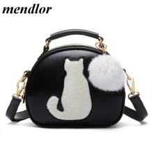 Hairball Pendant Cute Cartoon Small Cat Top-Handle Handbags Tote Bag For Women Girls Shoulder Bags Messenger Crossbody Bags(China)