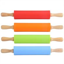 Non-Stick Wooden Handle Silicone Rolling Pin Pastry Dough Flour Roller Kitchen Baking Cooking Tools 2 Sizes 4 Colors Optional(China)