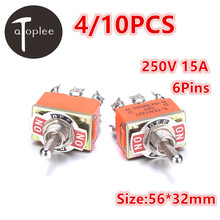 4/10PCS 250V 15A KN1322 Toggle Switch 6 Pins Touch On Off Switches Mini Small Switch Controlling The Circuits of AC or DC(China)