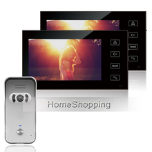 "FREE SHIPPING Home Intercom 7"" Color Touch Screen Video DoorPhone Intercom System + 2 Monitors + 700TVL Outdoor Camera IN STOCK"