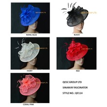 New arrival.6 colours.Big sinamay fascinator Hat with feathers.royal blue,black,hot pink,red,coral pink,cream ivory colour.