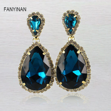 FANYINAN Austrian Crysta Gold  Chandelier Dangle Drop Earrings for Women Girls Fashion Jewelry Gift 2017 New