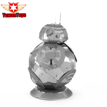 Hot Star Wars The Force Awakens BB-8 Cute Robot Stainless Steel Metal Puzzle 3D Model Silvery 2 Sheets Gold Intelligence Toys(China)