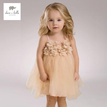 DB3408 dave bella baby girl verão princesa vestido de fios net vestido de casamento do bebê do aniversário dos miúdos roupas vestido meninas trajes
