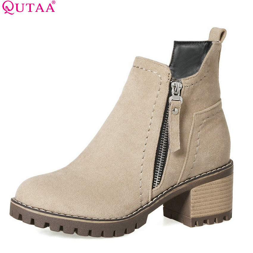 QUTAA 2018 Women Ankle Boots  Zipper Westrn Style Square High Heel Women Shoesfashion Round Toe Platform Women Boots Size 34-43<br>