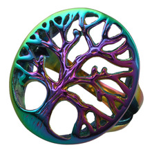 SUNYIK Punk Rock Gothic Rainbow Hollow Out Tree Of Life Hope Faith Stainless Steel Men's Finger Ring Jewelry
