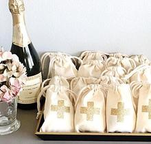 gold glitter cross wedding Hangover Kit jewelry favor Bags Bachelorette hen bridal shower Champagne Party gift bag