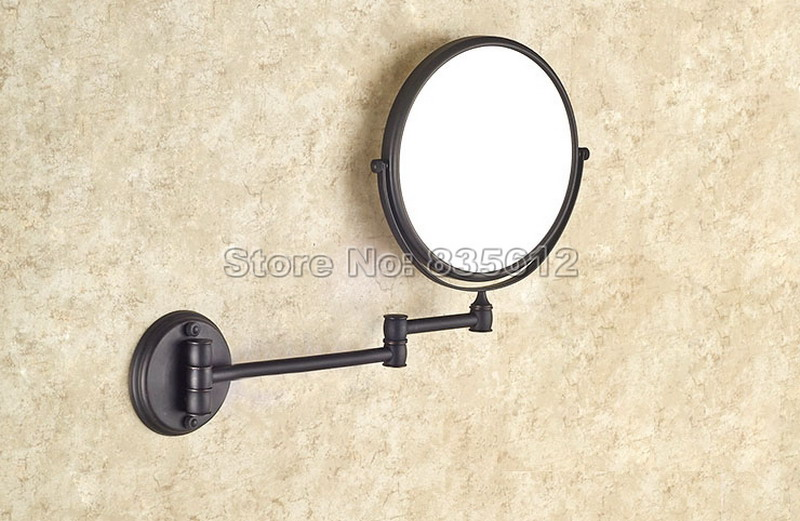 Bathroom Accessory Black Oil Rubbed Bronze Frame Arm Folding Wall Mounted Round Shape Makeup Shave Vanity Mirror Wba628<br>