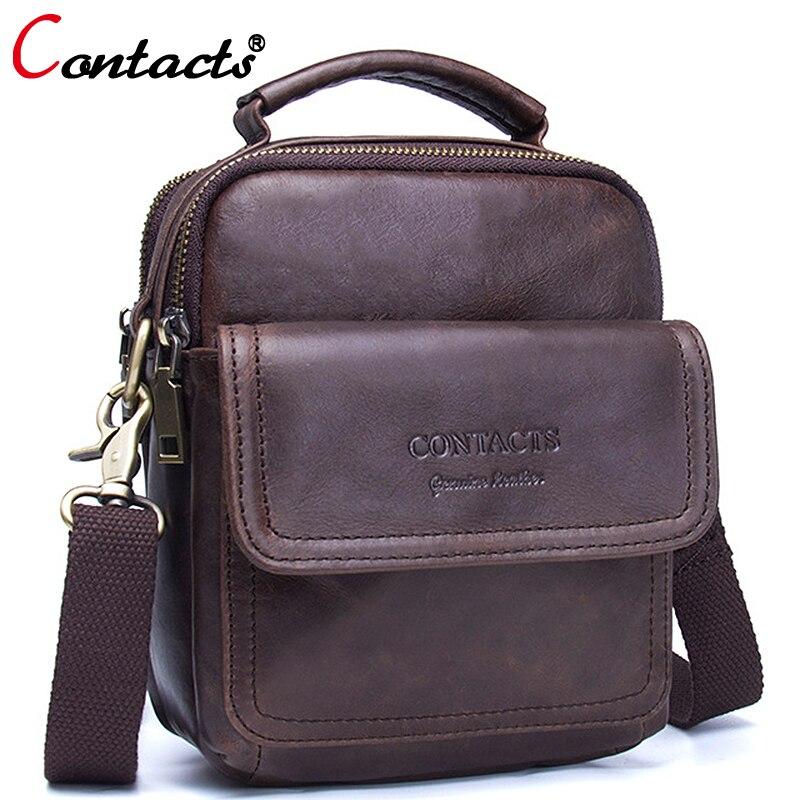 CONTACTS Small Cow Genuine Leather Bag Men Bag Male Shoulder Bag Crossbody Messenger Bag Men Leather Handbag Brown Briefcase<br>