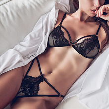 Buy Black French Women Lingerie Set Lace Embroidery Metal Exposed Thin Bra Panty Sexy Underwear Push Bra & Brief Sets Intimates