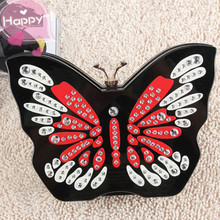 2017 Real New Arrival Day Clutches Polyester Unisex Hard Bow No Single Handbag Hand Bag Shoulder Butterfly Cross Shaped People