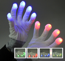 20PCS LED Gloves Rave Light Flashing Finger Lighting Glow Mittens Magic Black Glove Party Pub Birthday Halloween Party Holiday
