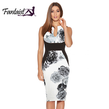 Fantaist 2017 Summer Dress Women Costume Vestidos Mujer Vintage Elegant Floral Print Patchwork Sexy Wedding Work Sheath Dress(China)