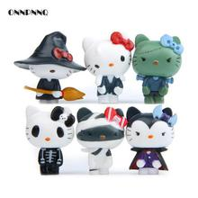 6pcs Kawaii Hello Kitty Halloween Miniature Figurines Kids Gift Cute Doll Kt Cat Toy Ornaments Home Decor Statuette decoration(China)