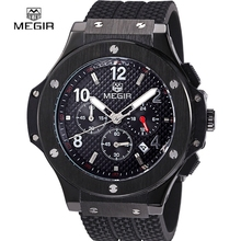 Megir full black silicone Chronograph sport men watches quartz-watch waterproof army military style function student wristwatch(China)