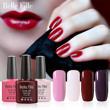 Belle Fille UV LED Gel Vampire Blood Red Wine Nail Gel Polish Pink Cute Lovely Nail Polish UV Gel Manicure Art Soak Off Nail Gel