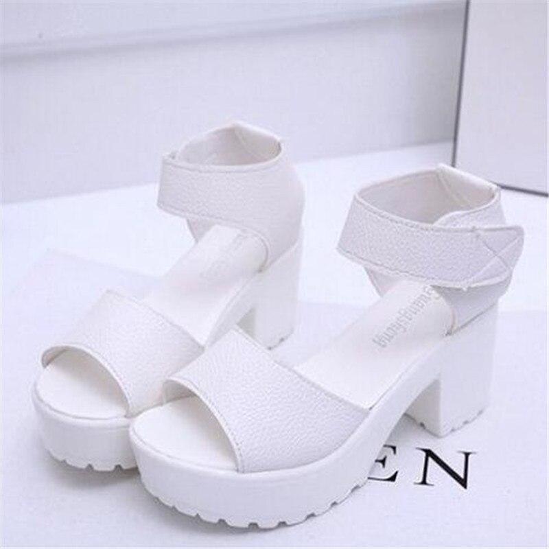 Hot  Summer Sandals Women 2016 wedges Open Toe high-heeled shoes Thick Heel Shoes Woman Mujer Platform Soft PU Women Sandals<br><br>Aliexpress