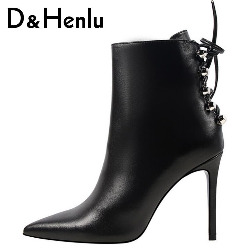 D&amp;Henlu Women Boots High Heel Ankle Boots Lady Short Plush Pointed Toe Square Heel Short Boots Keep<br>