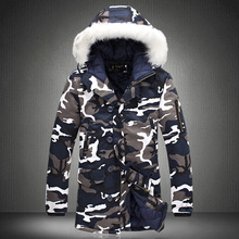 brand clothing Sale 2017 Fashion Camouflage Parkas Men Military Medium-long Winter Coat Thickening Cotton-padded Jacket 3XL