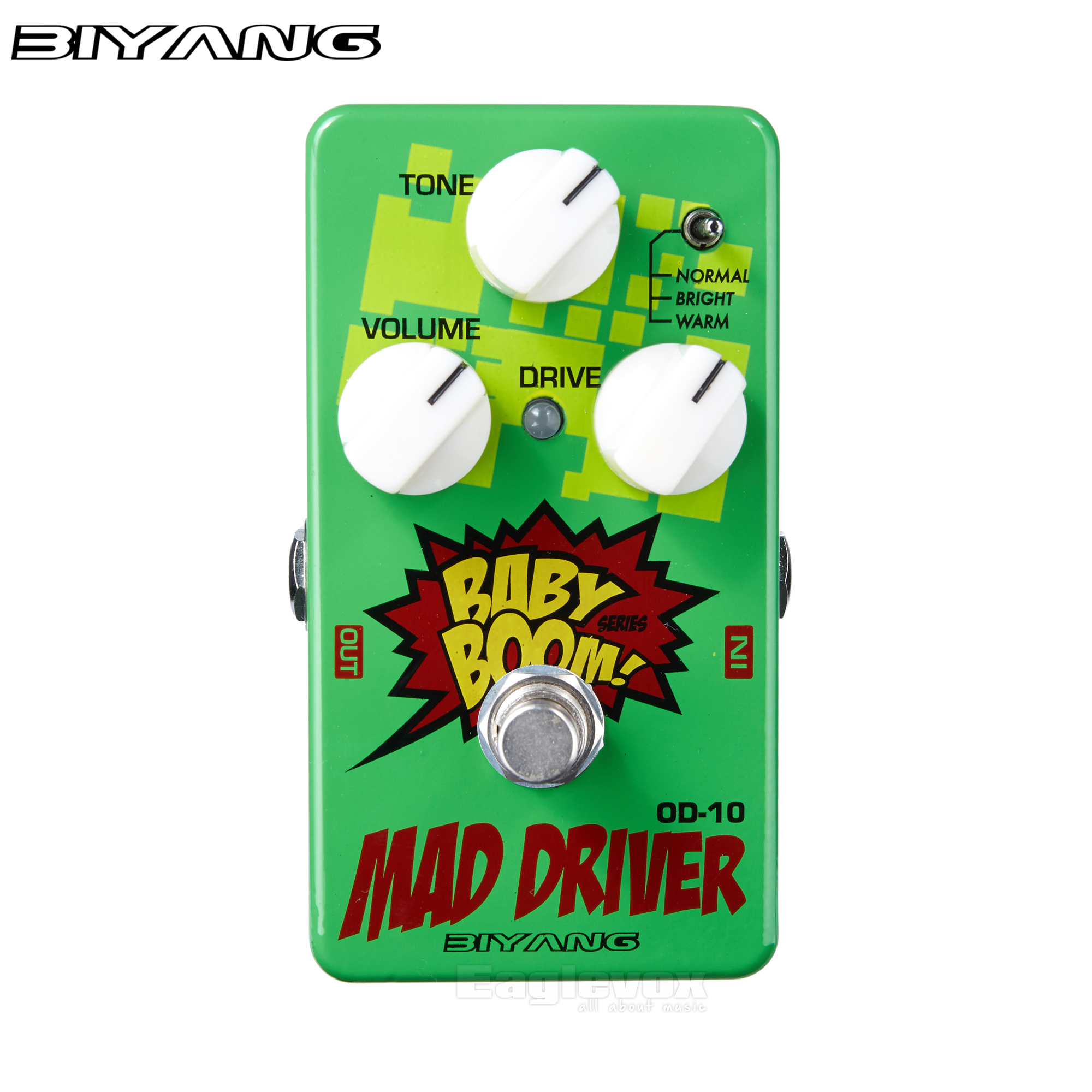 Biyang Mad Drive Overdrive Guitar Effect Pedal Mid Heavy Tube Screamer Overdrive Tone Effects Stompbox for Electric Guitar OD-10<br>